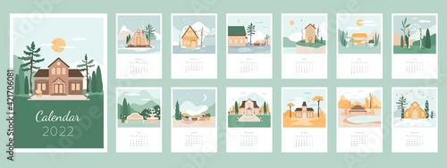 Canvas Calendar 2022 design concept with cozy houses and landscapes