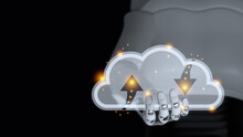 Hand Of Cyborg Is Holding Transparent Glass Cloud With Orange Spot Light Have Blur Body Of Android Robot On Black Background And Copy Space 3d Render. Cloud Computing Data Automatic Ai Concept.
