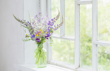 Wild Flowers In Vase On White Windowsill