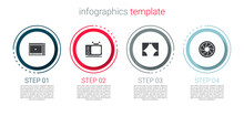 Set Online Play Video, Retro Tv, Curtain And Camera Shutter. Business Infographic Template. Vector