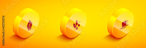 Set Isometric Pope hat, Olives branch and Coffee cup icon. Vector Fotobehang