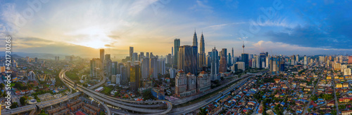 Photo Aerial Panoramic View Of Sunrise At Kuala Lumpur City Skyline