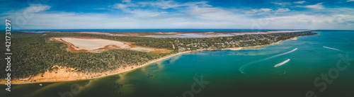 Pelican Bay in Gippsland, Australia - wide aerial panoramic landscape