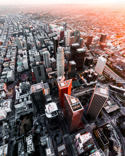 Canvas Print Aerial Shot Of Downtown Los Angeles