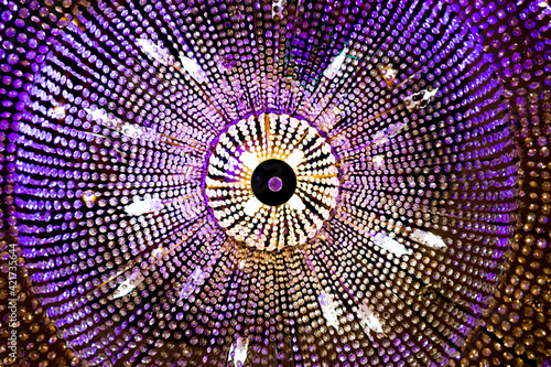 Low Angle View Of Illuminated Chandelier Poster Mural XXL