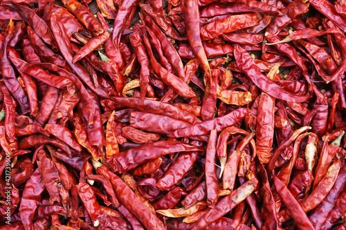 Fototapeta Full frame red dried chilies