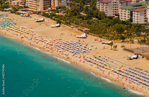 Obraz na plátně High Angle View Of People On Beach In City, Alanya. Turkey