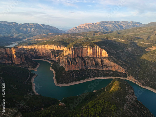 Aerial view of Congost de Mont Rebei in Spain, Europe