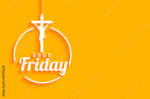 Tablou Canvas good friday yellow background with  jesus christ crucifixion cross