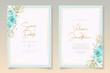 Elegant wedding card design with blue flowers