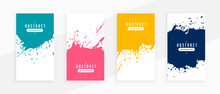 Abstract Splatter Banners Set In Four Colors