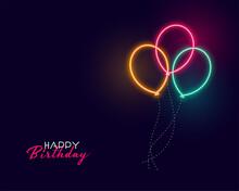 Cute Happy Birthday Neon Balloons Background
