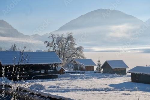 Scenic View Of Snow Field By Mountains Against Sky Fototapet