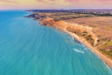 Seascape With Sea And City On The Clay Steep Coast. Aerial View Towards Fontanka, Odesa, Ukraine