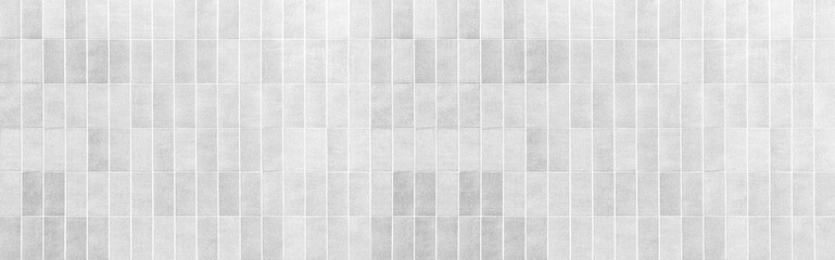 Panorama of Vintage white brick tile wall pattern and background seamless