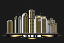 Vector Illustration Of San Diego City, Horizontal Poster With Outline Design Illuminated American City Scape, Urban Line Art Concept With Decorative Font For Words San Diego On Dark Evening Background