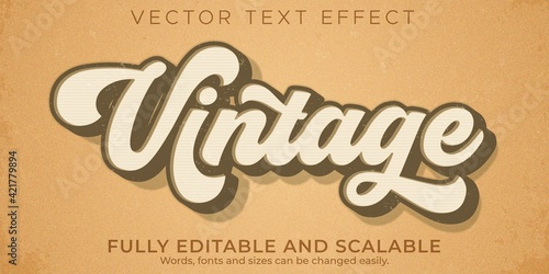 Retro, vintage text effect, editable 70s and 80s text style - fototapety na wymiar