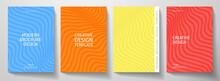 Modern Colorful Cover Design Set.  Abstract Wavy Line Pattern (curves) In Blue, Red, Yellow, Orange Color. Creative Stripe Vector Collection For Business Background, Brochure Template, Booklet, Flyer