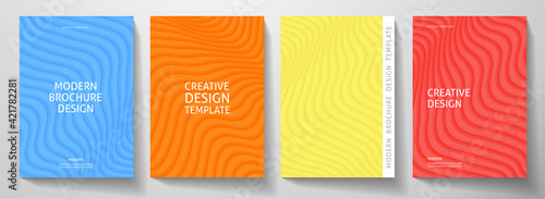 Fototapeta Modern colorful cover design set.  Abstract wavy line pattern (curves) in blue, red, yellow, orange color. Creative stripe vector collection for business background, brochure template, booklet, flyer obraz