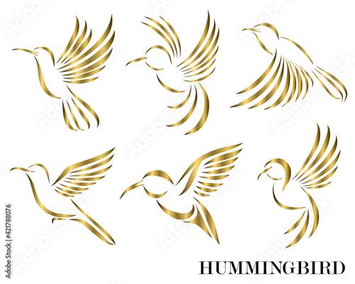 Fotografie, Obraz Line art Vector illustration six image set of flying golden hummingbirds