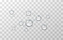 Realistic Drops Water Transparent Set Rain Spray Splash Splatter Isolated.