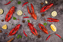Boiled Red Crawfish Or Crayfish  On Table