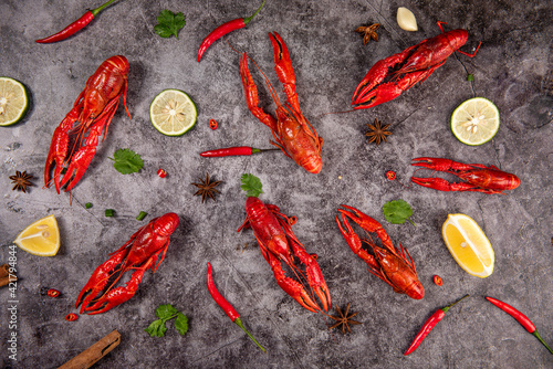 Canvas Print Boiled red crawfish or crayfish  on table