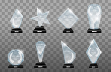 Realistic Cup Award Gold Prize Medal Victory Winner Champion Trophy Stella Nomination Isolated Set Transparent.