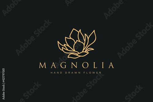 Photo Hand drawn vector magnolia flowers logo illustration