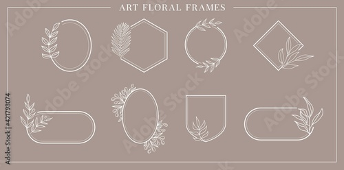 Fototapeta Collection of elegant vintage geometric vector wedding logo floral frames circle,oval,square.Borders decorated with hand drawn delicate flowers,wreath,branches,laurel,leaves,blossom.Vector invitation obraz
