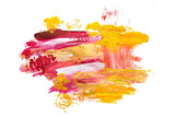 brush strokes with paint on paper. purple and gold