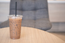 Ice Mocha In Take Away Plastic Cup With Black Staw