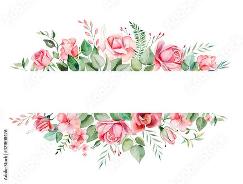 Obraz na plátně Watercolor pink flowers and leaves frame illustration