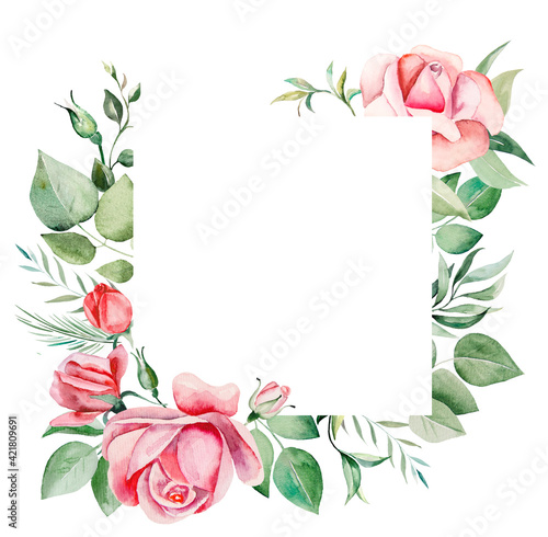 Watercolor pink flowers and leaves frame illustration