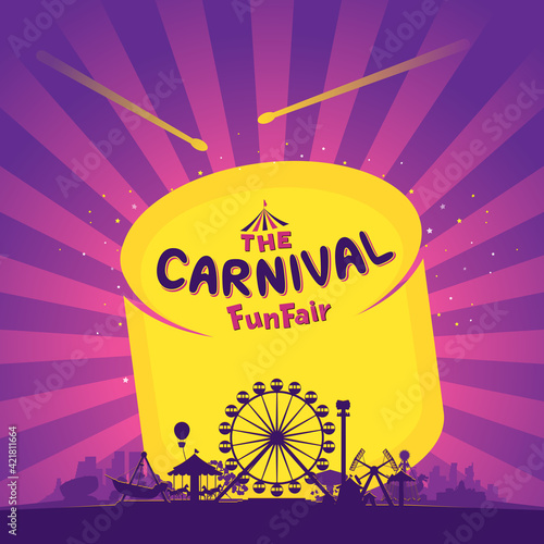 The carnival funfair and amusement with sunbeams background Fototapeta