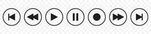 Media Player Buttons Icon Set, Play And Pause Buttons Sign, Video Audio Player Button Symbol, Vector Illustration