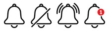 Notification Bell Icons, Ringing Bell Symbol, Alarm Social Media Element, Inbox Message Notification, Vector Illustration