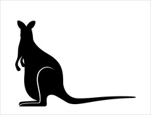 Graphical Silhouette Of Kangaroo Isolated On White Background,vector Illustration