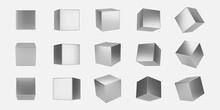 3d Silver Metal Cubes Set Isolated On Light Background. Render A Rotating Chrome Steel Box With Different Angles In Perspective With Lighting And Shadow. Realistic Vector Geometric Shapes