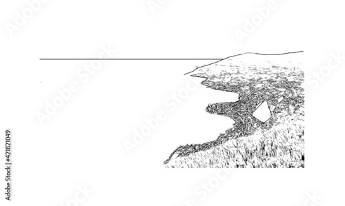 Building view with landmark of Montreux is the  municipality in Switzerland. Hand drawn sketch illustration in vector.
