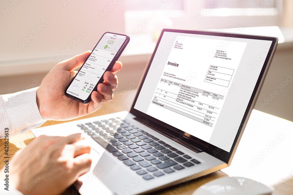 Fototapeta Digital Invoice Document Or Payment Receipt