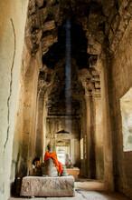 Meditative Atmosphere Inside Angkor Wat Temple