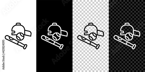 Photo Set line Baseball bat with ball, hat icon isolated on black and white, transparent background