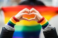 Gay Pride Heart Love Wristband Gesture