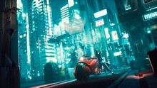 Police Robots Are Slowly Approaching The Cyber Girl Standing Next To Her Futuristic Motorcycle. View Of An Future Fiction City. 3D Rendering.
