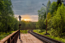 Railroad Track Amidst Trees Against Sunset Sky