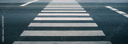 Fotografiet crosswalk on the road for safety when people walking cross the street, Pedestria