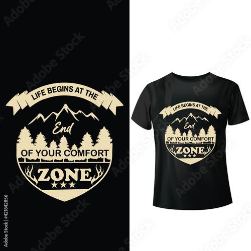 Fototapeta Life begins at the end of your comfort zone, t-shirt design obraz