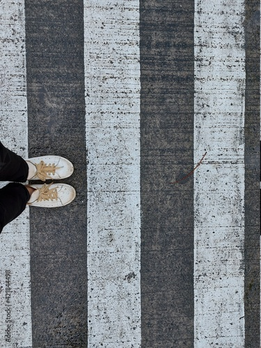 Low Section Of Person Standing On Cobblestone Street Fototapete