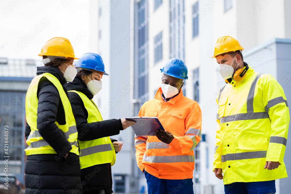 Fototapeta Industrial Engineer Worker Or Safety Inspector